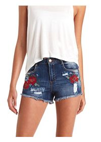 Floral Cross-Stitched High-Waisted Denim Shorts