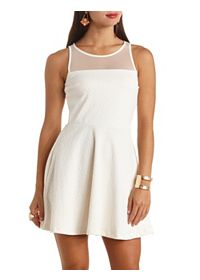 Textured Open Back Mesh Yoke Skater Dress