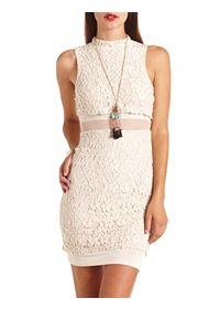 Mock Neck Mesh-Lined Lace Bodycon Dress
