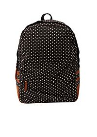 Polka Dot Print Canvas Backpack