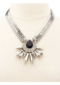 Faceted Stone & Spike Statement Collar Necklace