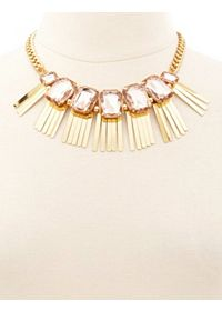 Faceted Stone Fringe Statement Necklace