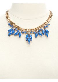 Chain & Faceted Gem Statement Collar Necklace
