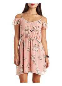 Floral Print Cold Shoulder Chiffon Dress