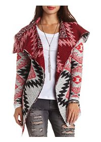 All-Over Aztec Cascade Cardigan Sweater