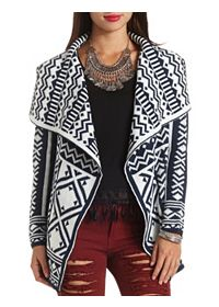 Geo Knit Cascade Cardigan Sweater