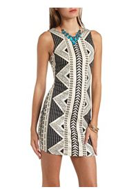 Metallic Tribal Print Bodycon Dress