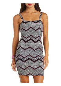 Cage-Back Mixed Chevron Print Bodycon Dress
