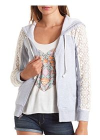 Scoop Neck Lace-Toppped Zip-Up Hoodie