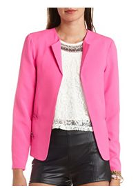 Zipper-Back Reverse High-Low Blazer