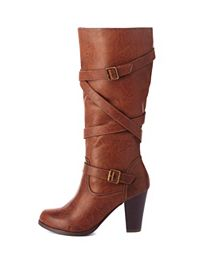 Belt-Wrapped Knee-High Chunky Heel Boots