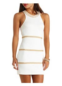 Chain-Wrapped Racer Front Bodycon Dress