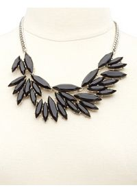 Marquise-Cut Faceted Stone Statement Necklace
