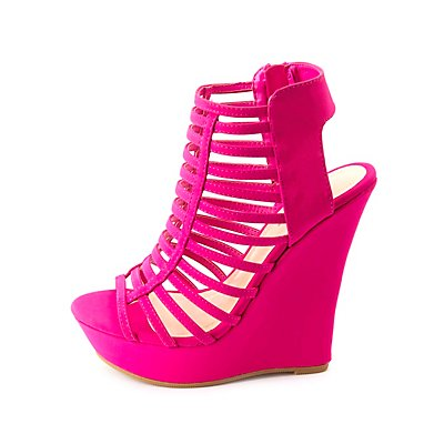 Bamboo Super Strappy Caged Platform Wedges
