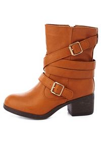 Bamboo Belt-Wrapped Chunky Heel Moto Boots