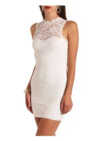Mock Neck Open Back Bodycon Lace Dress