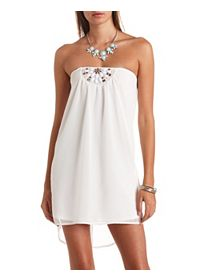 Faceted Stone-Embellished Strapless Shift Dress