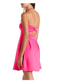 Neon Bow-Back Strapless Skater Dress