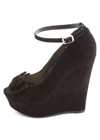 Bamboo Bow-Topped Peep Toe Platform Wedges
