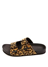Soda Buckled Cheetah Print Footbed Slide Sandals