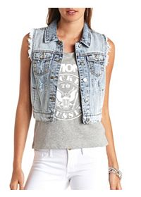 Cut-Off Acid Wash Denim Vest