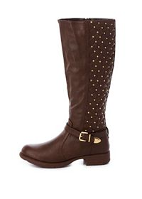 Quilted, Studded & Belted Riding Boots