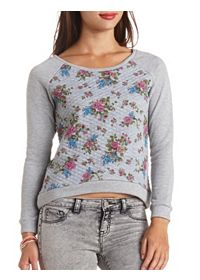 Quilted Floral Print Raglan Pullover Top