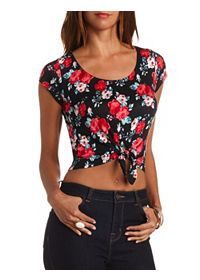 Short Sleeve Floral Tie-Front Crop Top