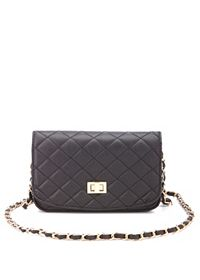 Quilted Twist-Lock Chain Strap Cross-Body Bag