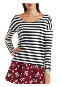 Striped Scoop Neck Crew Sweatshirt