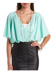 Cape Sleeve Sheer Wrap Crop Top