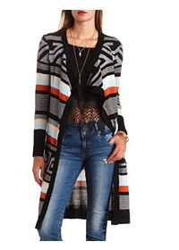 Aztec Striped Duster Cardigan Sweater