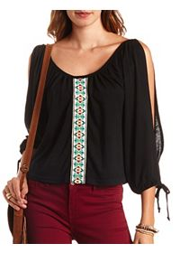 Embroidered Ribbon Cold Shoulder Peasant Top