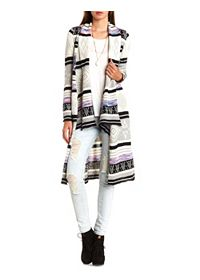 Geo-Striped Cascade Duster Cardigan Sweater