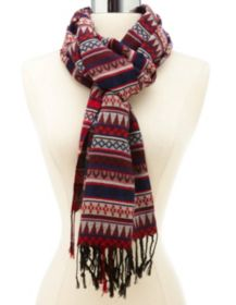 Tribal Striped Woven Fringe Scarf