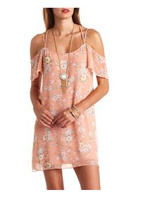 Strappy Floral Print Cold Shoulder Shift Dress