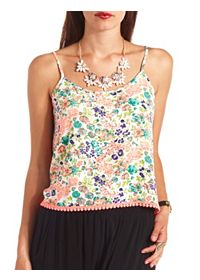Crochet-Trimmed Floral Print Cropped Tank Top