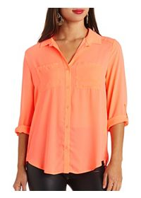 Sheer Neon Flyaway Button-Up Top
