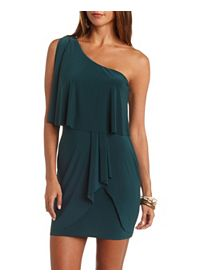 Cold Shoulder Asymmetrical Flounce Dress