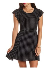 Cage-Back Polka Dot Skater Dress