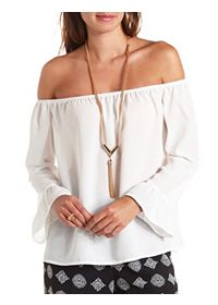Ruffle-Cuffed Off-the-Shoulder Chiffon Top