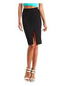 Front Slit Bodycon Midi Skirt