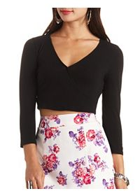 Three-Quarter Sleeve Wrap Crop Top