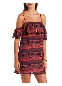 Printed Flounce Off-the-Shoulder Shift Dress