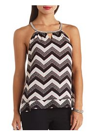 Beaded Necklace Layered Chiffon Top