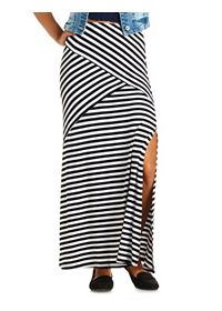 Mixed Striped Double Slit Maxi Skirt