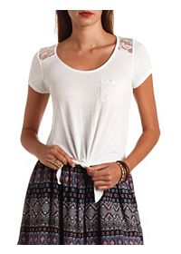Lace Yoke Tie-Front Pocket Crop Top
