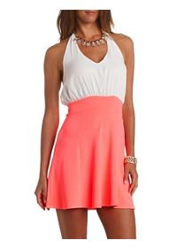 Color Block Chiffon Halter Skater Dress