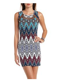 Geo Print Mesh Cut-Out Bodycon Dress