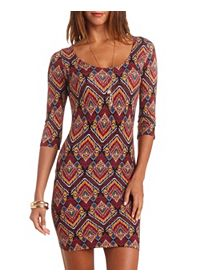 Caged Back Tribal Print Bodycon Dress